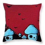 Zombie Mushroom Army Throw Pillow by Jera Sky