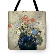 A Vase of Blue Flowers Tote Bag by Odilon Redon