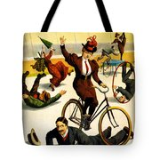 Funny Scenes of Bicycles and Roller Skates Tote Bag by Nomad Art And  Design