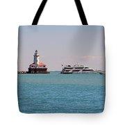 Historical Chicago Harbor Light Tote Bag by Christine Till