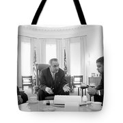 Lyndon Baines Johnson 1908-1973 36th President Of The United States In Talks With Civil Rights  Tote Bag by Anonymous