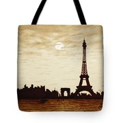 Paris Under Moonlight Silhouette France Tote Bag by Georgeta  Blanaru