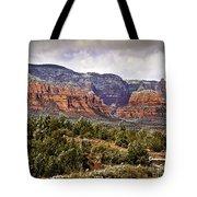 Sedona Arizona in Winter Coat Tote Bag by  Bob and Nadine Johnston