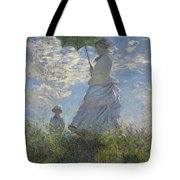 Woman with a Parasol Madame Monet and Her Son Tote Bag by Claude Monet