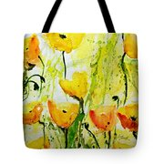 Yellow Poppy 2 - Abstract Floral Painting Tote Bag by Ismeta Gruenwald