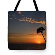 0502 Palms With Sunrise Colors On Santa Rosa Sound Tote Bag by Jeff at JSJ Photography