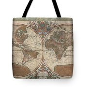 1691 Sanson Map Of The World On Hemisphere Projection Tote Bag by Paul Fearn