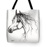 Arabian Horse Drawing 37 Tote Bag by Angel  Tarantella
