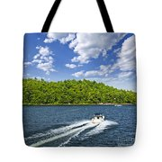 Boating On Lake Tote Bag by Elena Elisseeva