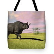 Brontotherium Grazing In Prehistoric Tote Bag by Kostyantyn Ivanyshen