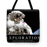 Exploration Inspirational Quote Tote Bag by Stocktrek Images