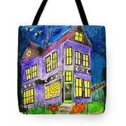 Flight Of The Moon Witch On Hallows Eve Tote Bag by Janet Immordino