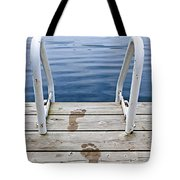 Footprints on dock at summer lake Tote Bag by Elena Elisseeva