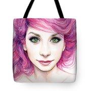 Girl with Magenta Hair Tote Bag by Olga Shvartsur