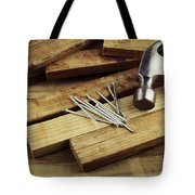 Hammer And Nails Tote Bag by Les Cunliffe