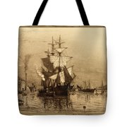 Historic Seaport Schooner Tote Bag by John Stephens
