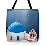 Iconic blue domed churches in Oia Santorini Greece Tote Bag by Matteo Colombo