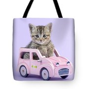 Kitten In Pink Car Tote Bag by Greg Cuddiford