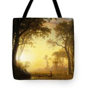 Light In The Forest Tote Bag by Albert Bierstadt
