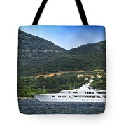 Luxury Yacht At The Coast Of French Riviera Tote Bag by Elena Elisseeva