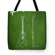 McCarty Gibson stringed instrument patent Drawing from 1958 - Green Tote Bag by Aged Pixel