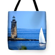 Sailing By Ram Island Light Tote Bag by Nancy Patterson