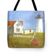 Sunny Day At Nubble Lighthouse Tote Bag by Carol Leigh