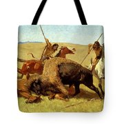 The Buffalo Hunt Tote Bag by Frederic Remington