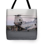 U.s. Marines Board A Ch-46 Sea Knight Tote Bag by Stocktrek Images