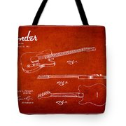 Vintage Fender Guitar Patent Drawing From 1951 Tote Bag by Aged Pixel