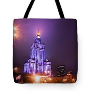 Warsaw Poland Downtown Skyline At Night Tote Bag by Michal Bednarek
