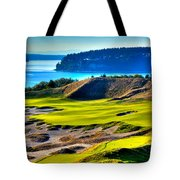 #14 At Chambers Bay Golf Course - Location Of The 2015 U.s. Open Tournament Tote Bag by David Patterson