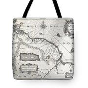1635 Blaeu Map Guiana Venezuela and El Dorado Tote Bag by Paul Fearn