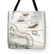 1688 Coronelli Globe Gore Map Of Ne North America The West Indies And Ne South America Geographicus Tote Bag by MotionAge Designs