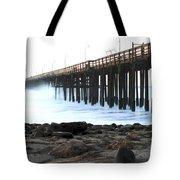Ocean Wave Storm Pier Tote Bag by Henrik Lehnerer