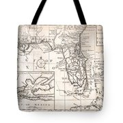 1763 Gibson Map Of East And West Florida Tote Bag by Paul Fearn