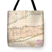 1842 Mather Map of Long Island New York Tote Bag by Paul Fearn