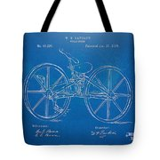 1869 Velocipede Bicycle Patent Blueprint Tote Bag by Nikki Marie Smith