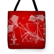 1879 Quinby Aerial Ship Patent Minimal - Red Tote Bag by Nikki Marie Smith