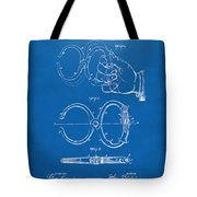 1891 Police Nippers Handcuffs Patent Artwork - Blueprint Tote Bag by Nikki Marie Smith