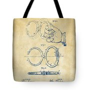 1891 Police Nippers Handcuffs Patent Artwork - Vintage Tote Bag by Nikki Marie Smith
