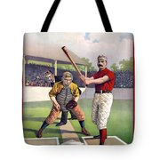 1895 Batter Up At Home Plate Tote Bag by Daniel Hagerman