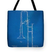1902 Slide Trombone Patent Blueprint Tote Bag by Nikki Marie Smith