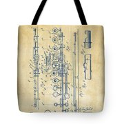 1908 Flute Patent - Vintage Tote Bag by Nikki Marie Smith