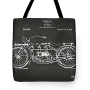 1919 Motorcycle Patent Artwork - Gray Tote Bag by Nikki Marie Smith