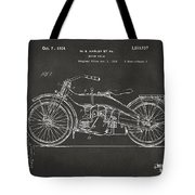 1924 Harley Motorcycle Patent Artwork - Gray Tote Bag by Nikki Marie Smith