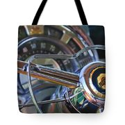 1950 Chrysler New Yorker Coupe Steering Wheel Emblem Tote Bag by Jill Reger