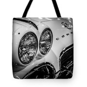 1950's Chevrolet Corvette C1 In Black And White Tote Bag by Paul Velgos