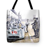 1955 Mercedes Benz W 196 Str Stirling Moss Italian Gp Monza Tote Bag by Yuriy  Shevchuk