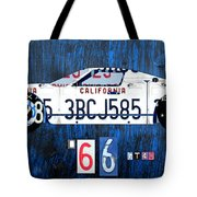 1966 Ford Gt40 License Plate Art By Design Turnpike Tote Bag by Design Turnpike
